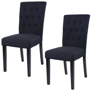 Details About 2pcsset Fabric Dining Chairs Solid Wooden Legs Home Commercial Restaurants