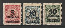 Deutsches Reich, ultimo inaspri scritta frase durchst, MER. n.: 334b-336b, **