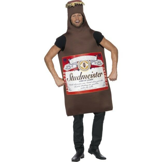 Studmeister Beer Bottle Costume Adult Drinking Stag Do Party Fancy Dress New