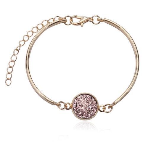 AC/_ Fashion Women/'s Bangles Natural Geode Stone Rhinestone Pave Bracelet Cheap