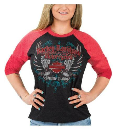 Black /& Red Harley-Davidson Women/'s Winged Bling B/&S 3//4 Raglan Sleeve Shirt