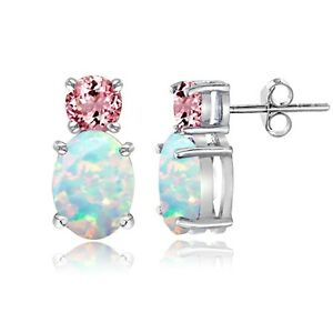 Image Is Loading 925 Sterling Silver Created Opal And Pink Tourmaline