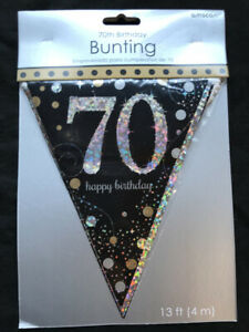 Image Is Loading 70th Birthday Pennant Flag Banner Black Silver Gold