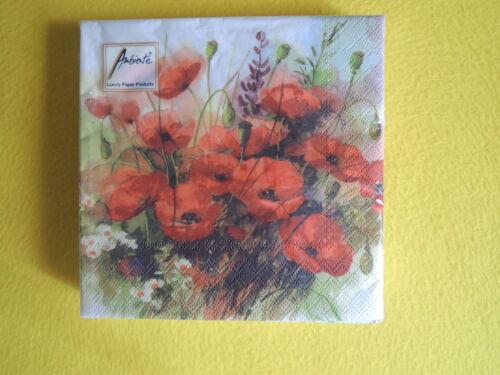 WILD POPPIES 20 Serviettes klatschmohn PAVOT Poppy 1 boîte neuf dans sa boîte Ambiance