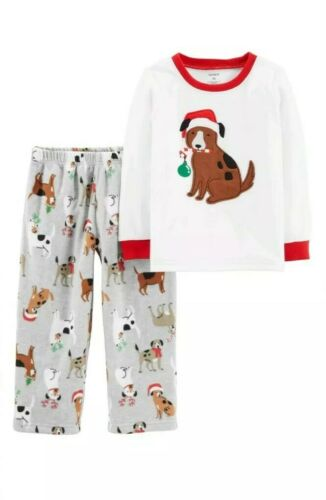 Details about  /Toddler boy Carter/'s CHRISTMAS DOGS top /& fleece bottoms pajama set NEW