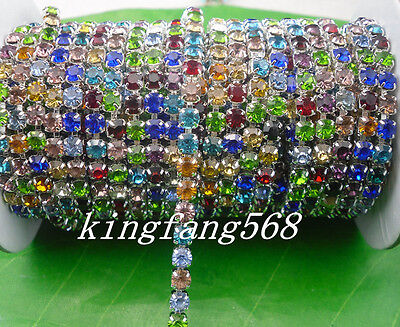 crystal glass rhinestone compact close silver cup claw chain trims Applique SS16