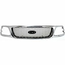 Grille For 99-2003 Ford F-150 99 F-250 Chrome Shell w/ Black Insert Plastic