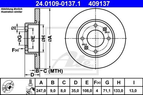 UAT Disques De Frein Garnitures Arrière ø247 citroen c4 I c4 coupe 4001884