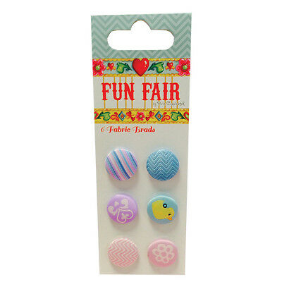 Pack 6 Fun Fair by Helz Cuppleditch Fabric Brads great for cards and crafts