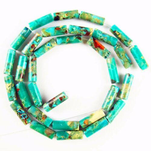 "10g 13x4mm Natural Snake Skin Jasper Column Loose Bead 15.5/"" DHS847"