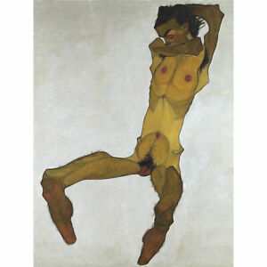 Egon-Schiele-Seated-Male-Nude-Self-Portrait-Large-Canvas-Art-Print