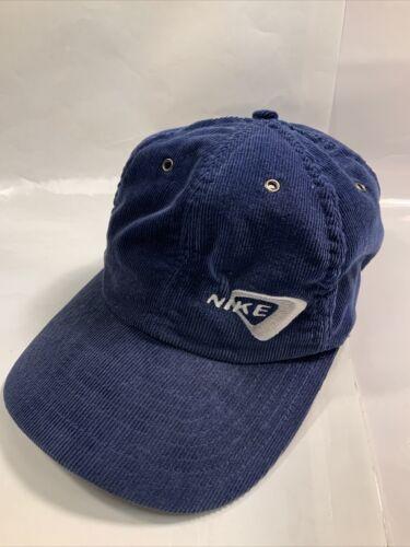 Vintage Nike Hat Corduroy 80s - 90'S Blue AUTHENT… - image 1