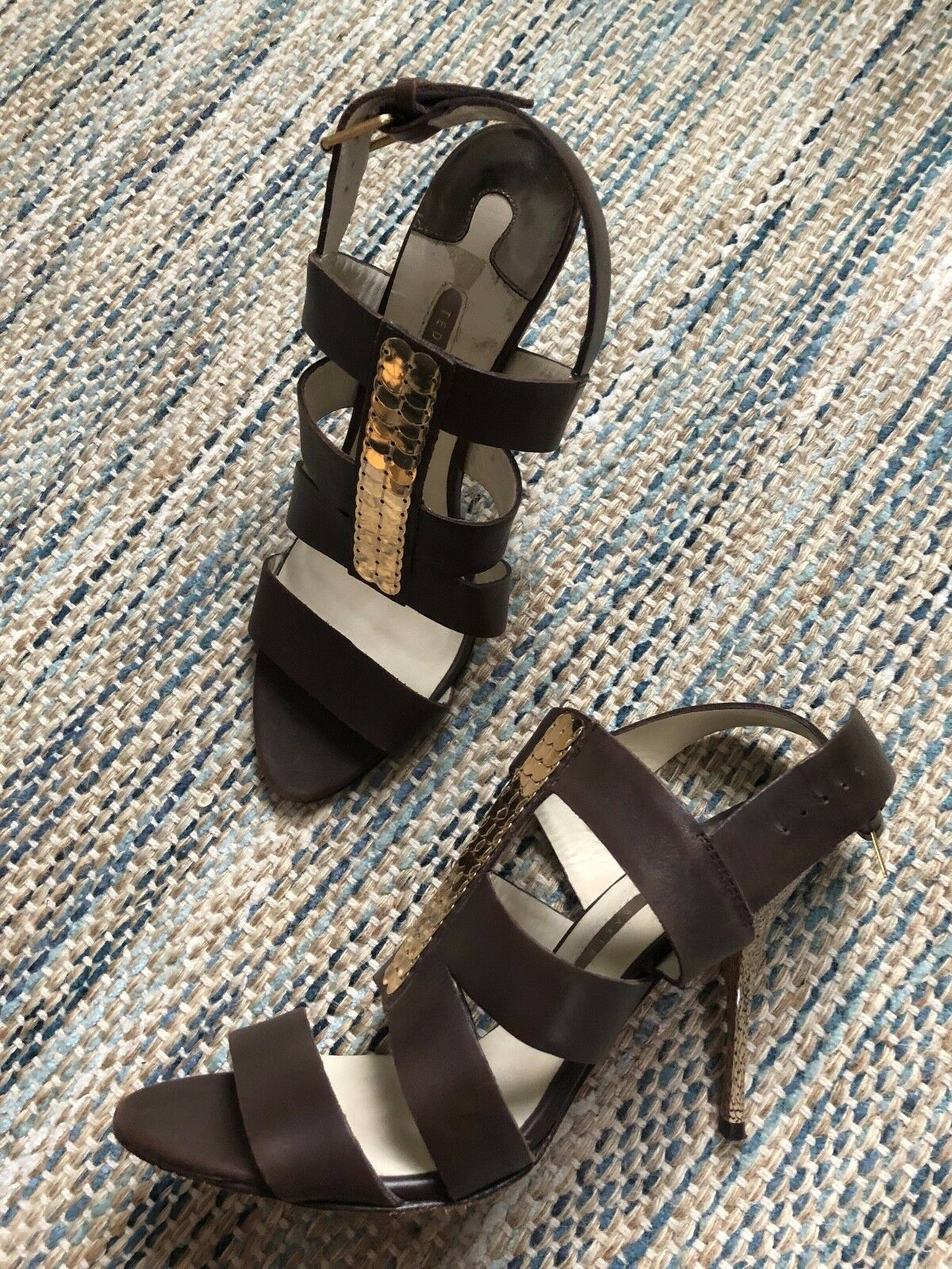 Ted Baker Brown Leather gold Sequin Embellished Strappy Sexy Sandals Size 9