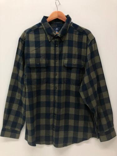 George Men Plaid Flannel Shirt Cotton Green Blue Burgundy Soft S L XL 2XL 3XL