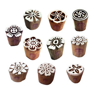 Clay-Printing-Stamps-Arty-Crafty-Small-Floral-Shape-Wooden-Blocks-Set-of-10