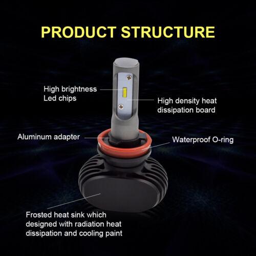 Safego 2X 50W H11 LED Headlight Convention Bulbs Kit H8 H9 8000LM 6500K Light