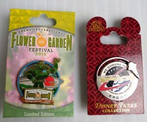 Disney-Epcot-Pins-2-Flower-amp-Garden-Toy-Story-Buzz-Lightyear-amp-Space-Mission
