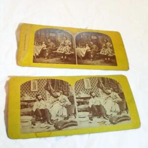2-Antique-Stereoscope-Stereoview-Cards-Wisconsin-Estate-Find-Yellow-Cardstock