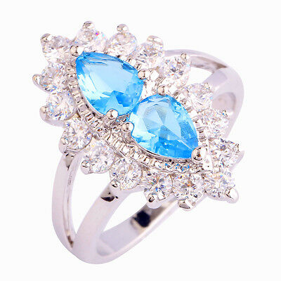 Stylish Jewelry Blue Topaz & White Topaz Gemstone Silver Ring Size 6 7 8 9 10