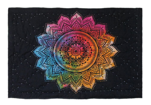 Handmade Baby Quilt Indian Multicolor Lotus Mandala Blanket Throw 100/% Coverlet