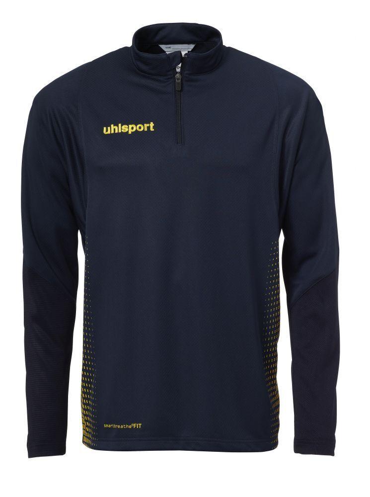 Uhlsport Kids Sports Football Soccer 1 4 Zip Long Sleeve Top Sweatshirt Navy Yel