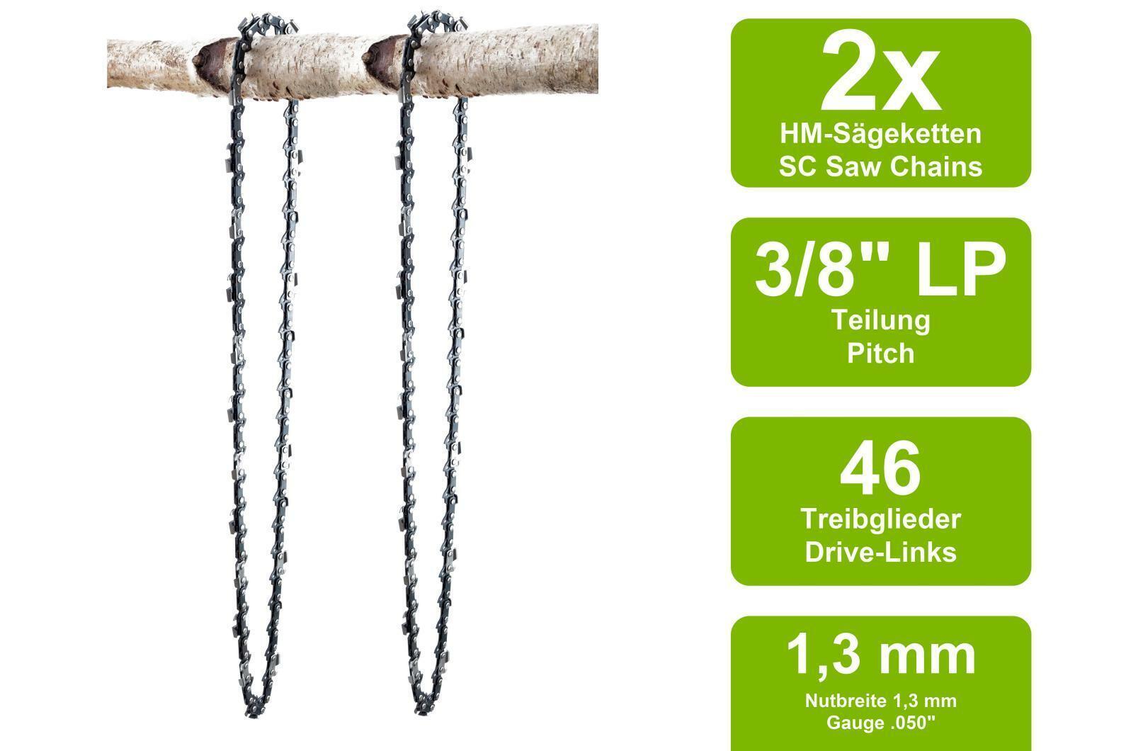 """Chaine de tronconneuse adapté pour Dolmar ps32 30 cm 3//8/"""" 46 TG 1,1 mm Halbmeißel Chain"""