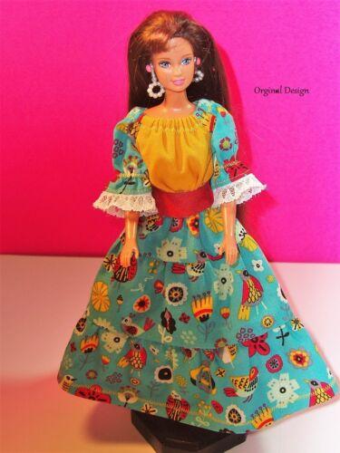 Barbie Festive Southwestern Top /& Tiered Skirt W// Leather Belt 11.5 Barbie Doll