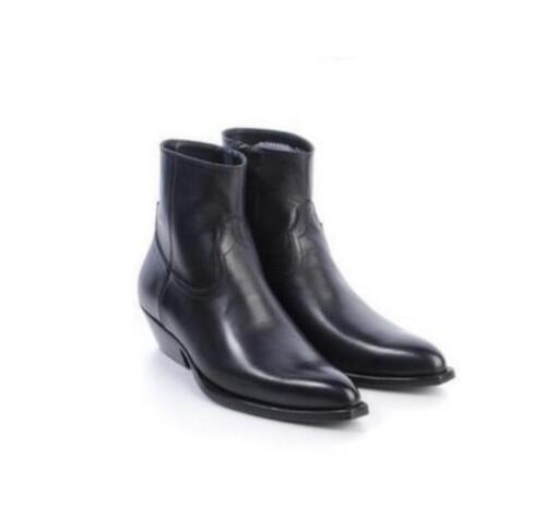 Hot Men High Top Chelsea Ankle Boots Suede Leather Vintage Leopard Cowboy Shoes