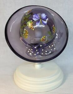Fenton-Art-Glass-Hand-Painted-Butterfly-And-Flowers-Violet-Hat-On-Stand-LIMITED
