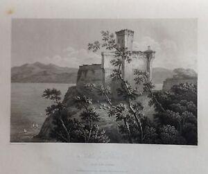 ITALIA-LIGURIA-CSTLE-OF-LERICI-GRABADO-ORIGINAL-DE-HAKEWILL-1820