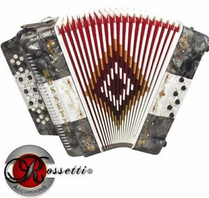 Rossetti 34 Button Accordion 12 Bass 3 Switches GCF Mexican Flag