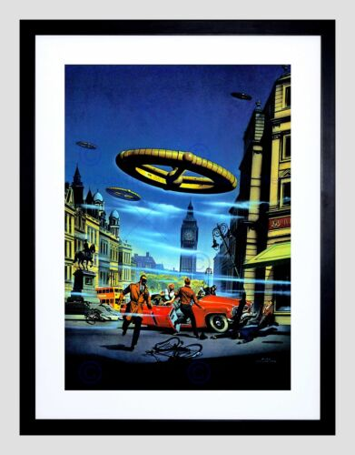 SURREAL FANTASY ALIEN INVASION LONDON ENGLAND UK BIG BEN FRAMED PRINT B12X7548