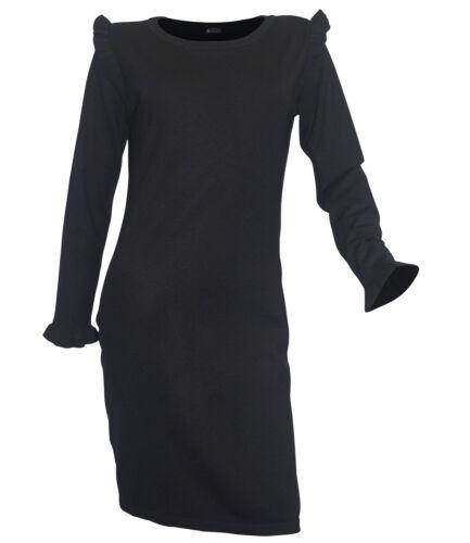 Robe tricot Laura Scott Taille 42 Noir Tricot Fin Mini-robe Boutons Arrière
