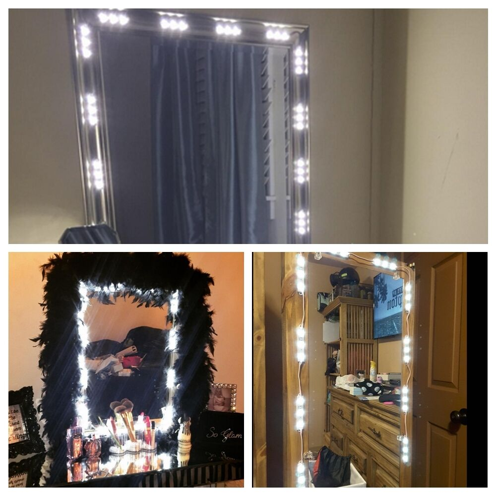 us 10ft white dressing mirror lamp cosmetic makeup vanity led light remote power ebay. Black Bedroom Furniture Sets. Home Design Ideas