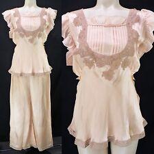 Vintage 30s 40s Peach Satin Pajama Set Pintuck Lace Top + Wide Leg Pants! M