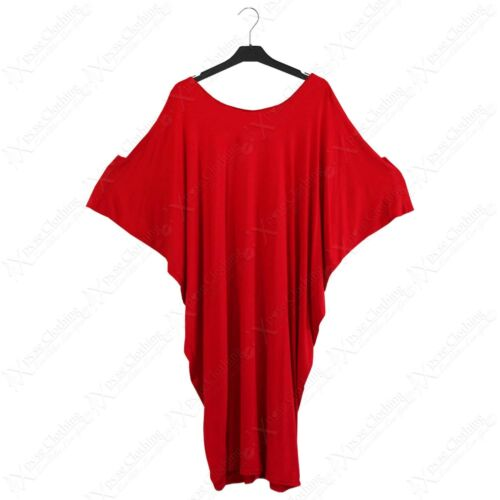 NEW LADIES SLOUCH SLASH NECK LONG BATWING TOP WOMEN OVERSIZED T-SHIRT LOOK DRESS