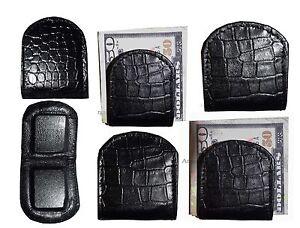 Noir-Crocodile-Imprime-Cuir-Unbranded-Argent-Pince-Argent-Br-Neuf-Lot-de-6