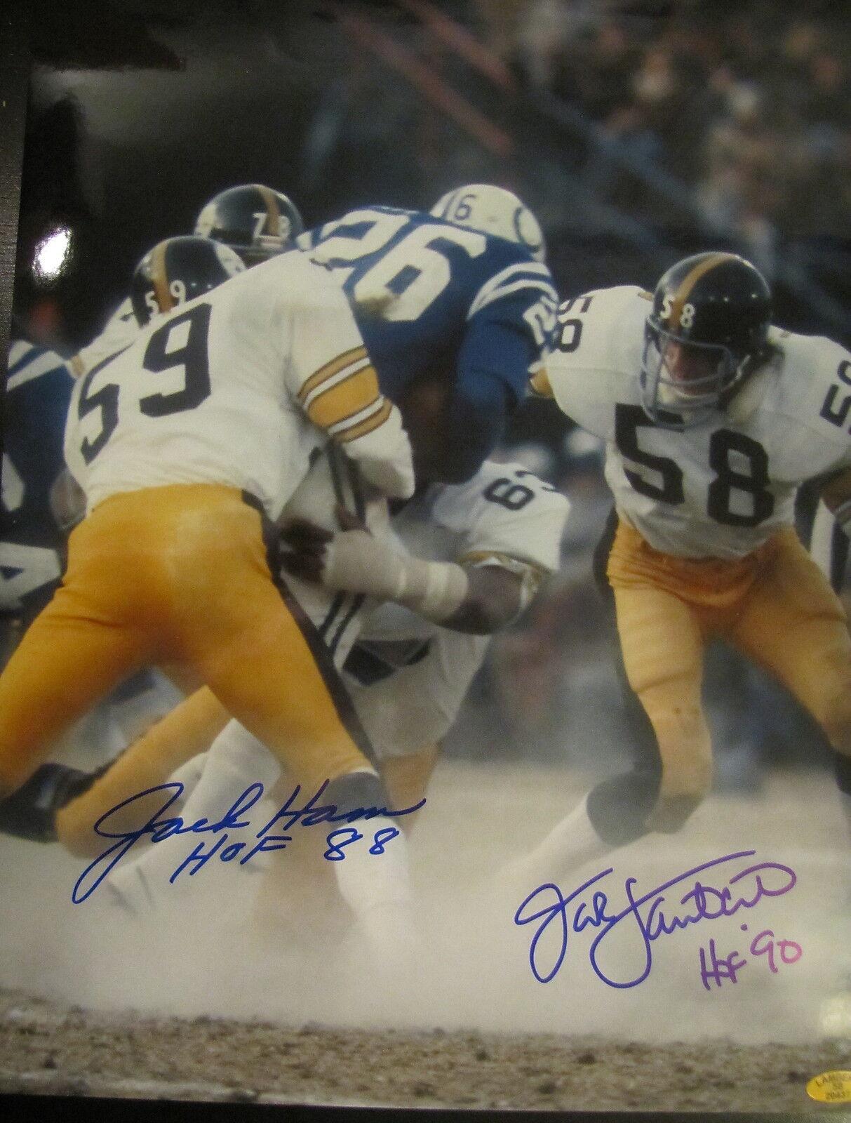 Jack Ham   Jack Lambert Pittsburgh Pittsburgh Pittsburgh Steelers Hof 88 , 90 Acción Firmado 11x14 2800fd