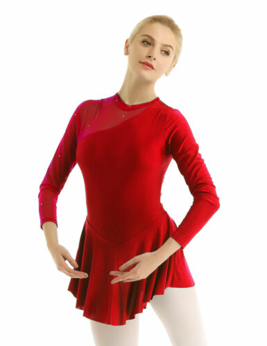 Womens Gymnastics Ballet Leotard Dress Figure Ice Skating Costume Unitard Dress