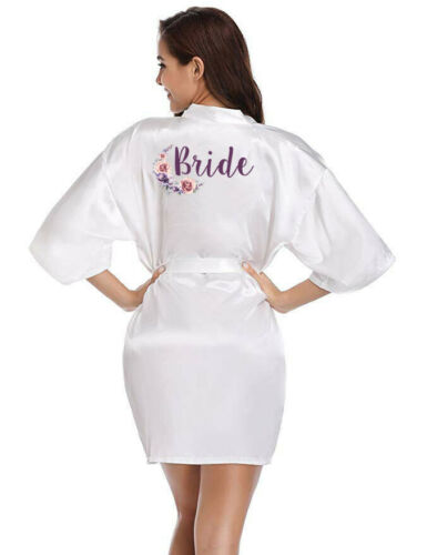 Women Satin Silk Wedding Floral Robe Bridesmaid Bride Maid Of Honor Mother Gown