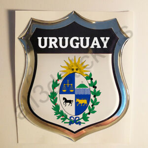 Sticker-Uruguay-Emblem-Coat-of-Arms-Shield-3D-Resin-Domed-Gel-Vinyl-Decal-Car
