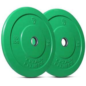 Titan-Fitness-Pair-10-lb-Olympic-Bumper-Plate-Green-Benchpress-Strength-Training