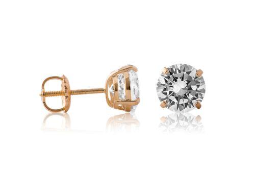 14K Yellow Gold Round Brilliant Created Diamond Screw Back Stud Earrings