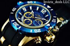 New Invicta Mens 50mm Pro Diver Quartz Chronograph 18K Gold IP Blue Dial Watch