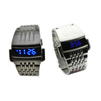 Fashion Mens Watch Stainless Steel Blue Led Digital Sport Quartz Wrist Watches