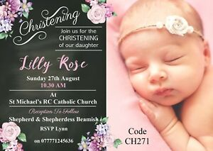 Details About Christening Or Baptism Girls Invitation Cards Any Age With Free Envelopes