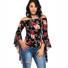 9e3b67f7abfff7 item 6 Womens Ruffle Off Shoulder Tops Ladies Summer Casual Bell Sleeve T Shirt  Blouse -Womens Ruffle Off Shoulder Tops Ladies Summer Casual Bell Sleeve T  ...
