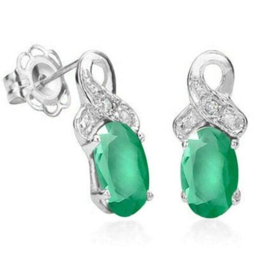 925er Silber 0,89 Kt Ohrringe//Ohrstecker Jamie echter Smaragd//Diamant