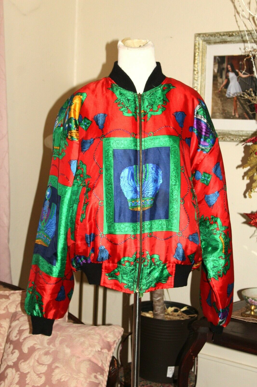 VINTAGE 1980's RED GREEN HOLIDAY SILK PUFF SLEEVE… - image 3