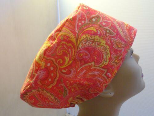 WOMEN/'S SURGICAL/_SCRUB HAT/_peach orange golden paisley cotton elastic in back